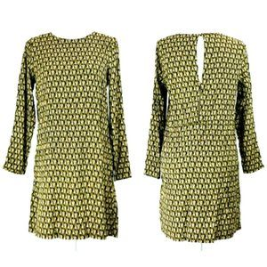 H&M Art Deco Mod Print 3/4 Sleeve Shift Dress